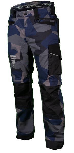Munkavédelmi derekas nadrág, levehető szárral, sötétkék terepmintás, M, MORO X, STALCO PERF.POWERMAX