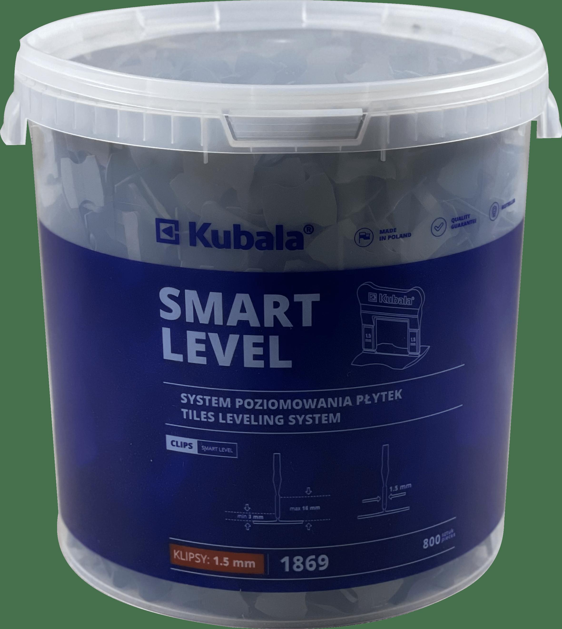 SMART LEVEL fugázó klipsz, 1,5mm, 800 db + 20 literes vödör, KUBALA