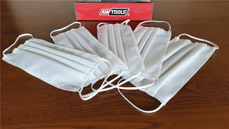 Kétrétegű, mosható száj-orr maszk, 10 db/csom, AWTOOLS