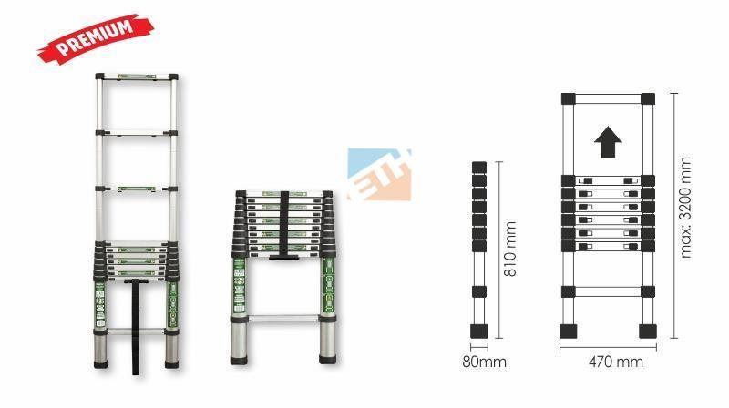 Teleszkópos létra 11 fok 150 kg terhelhető ,STALCO