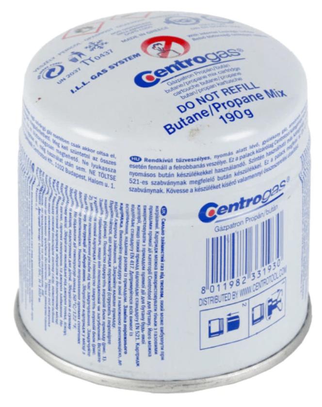 Bután-propán gázpalack/gázpatron 190 g/0,4 l, Centrogas