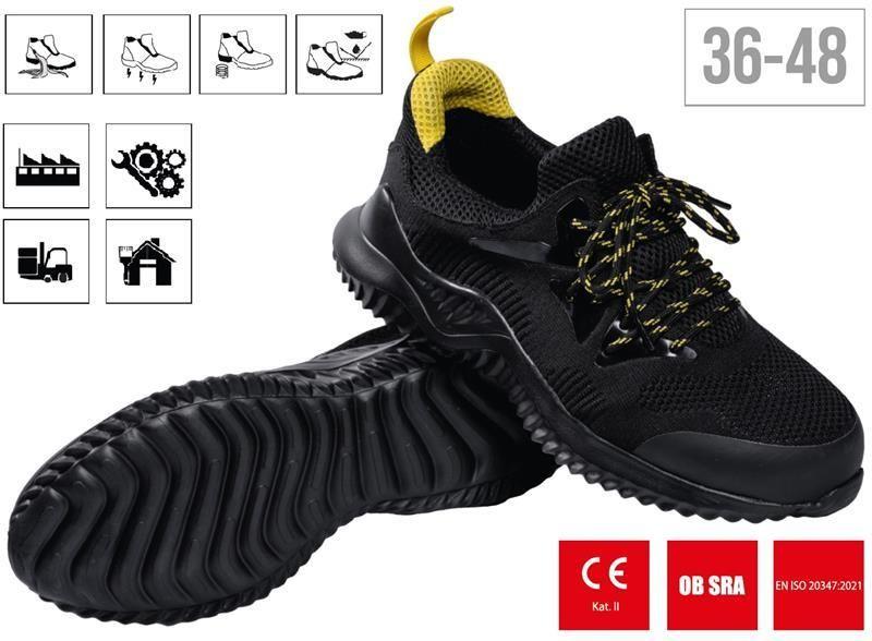 Munkavédelmi félcipő, OB SRA, 44-as méret, fekete, TOMAS OB, STALCO PREMIUM